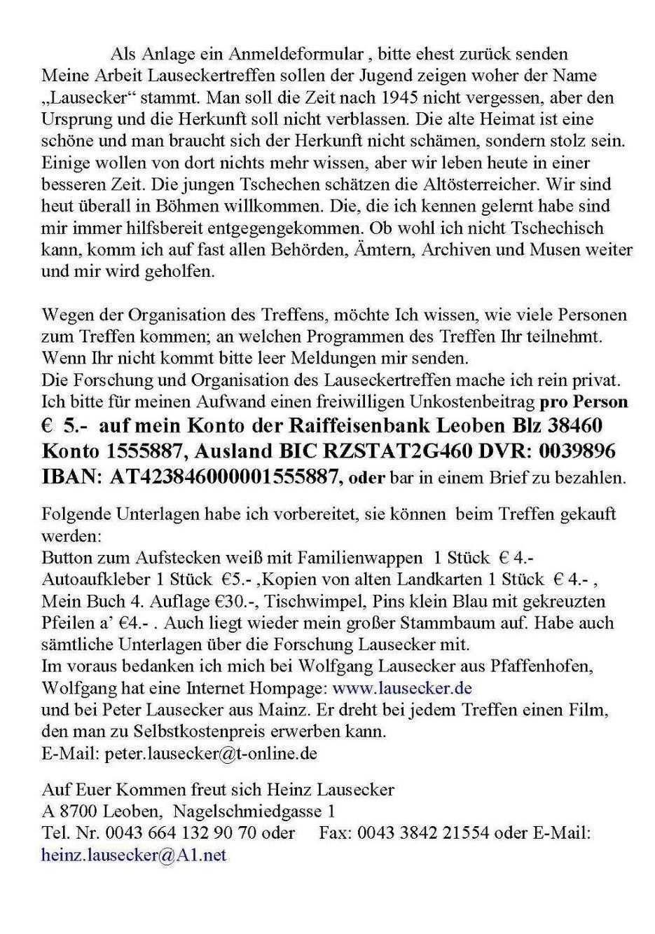 Stammbaum der Familie Lausecker aus Kaplitz - Einladung zum ...