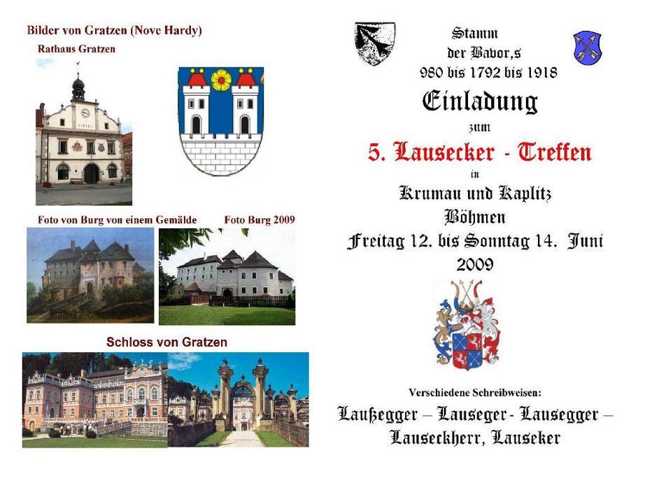 Stammbaum der Familie Lausecker aus Kaplitz - Einladung zum Familientreffen 2009